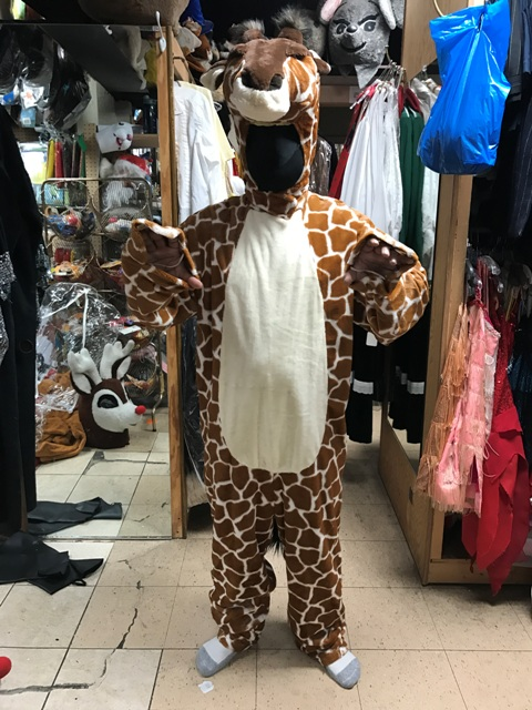 Giraffe Open Faced Mascot Costume For Rent in Los Angeles hands