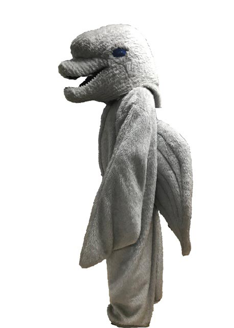 Dolphin Mascot Costume for rent in los angeles side view