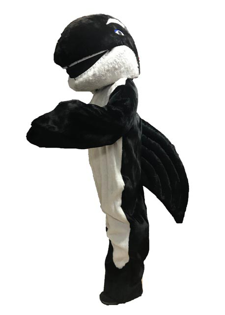 Killer Whale/Orca Mascot Costume for rent in Los Angeles side view