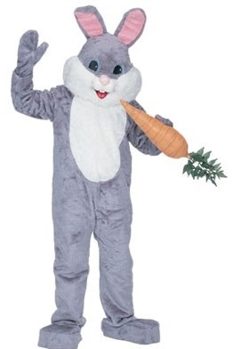 grey bunny mascot costume for rent