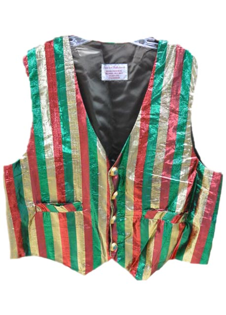santa claus vest red green and gold stripes