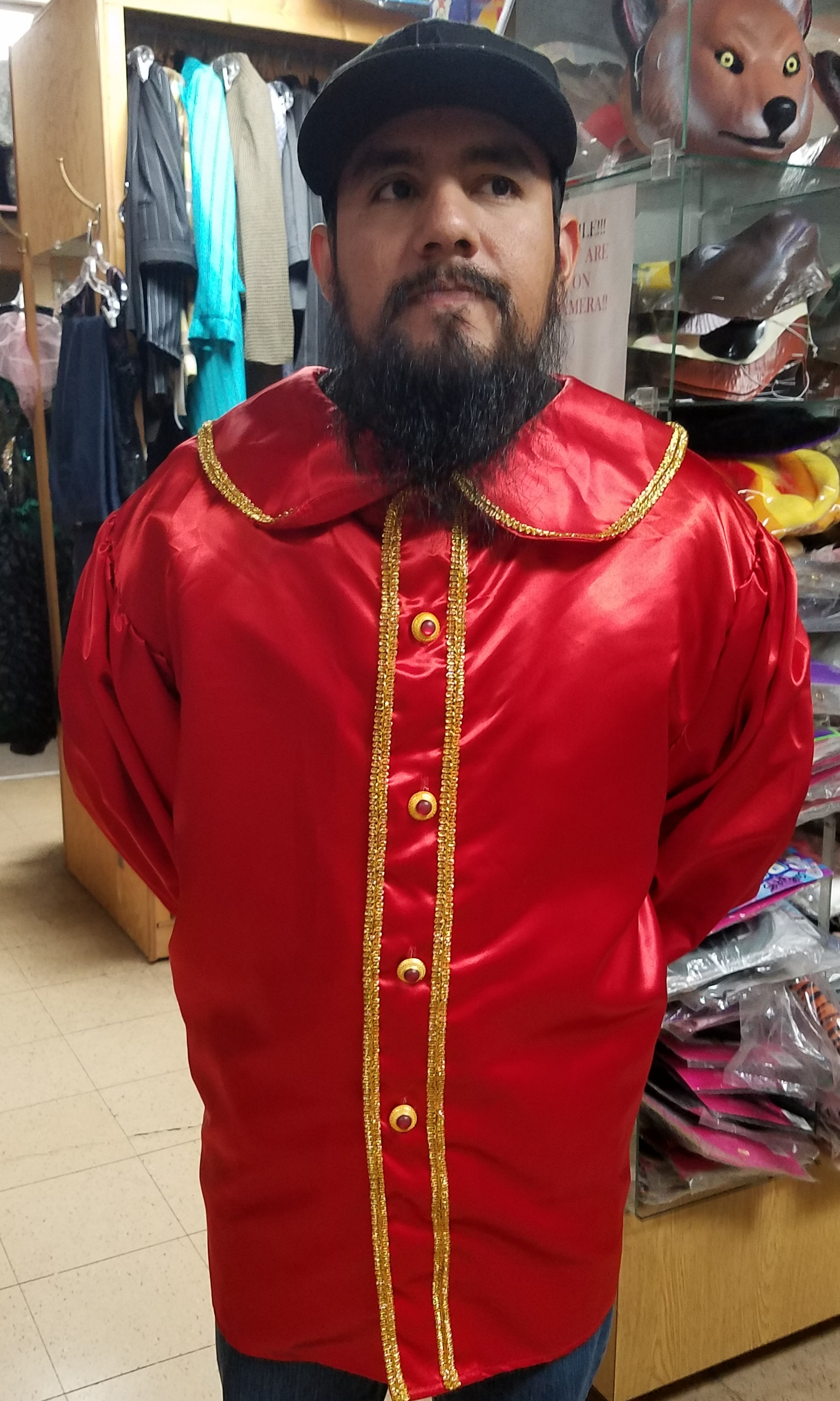 professional red satin santa claus shirt