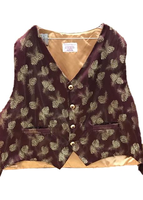 Burgundy Satin With Gold Pine Cone Santa Claus Vest