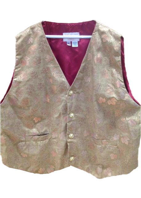 Brown With Gold Leaf Brocade Santa Claus Vest