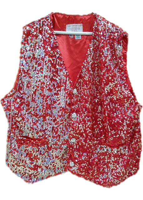 santa claus vest red and silver sequin