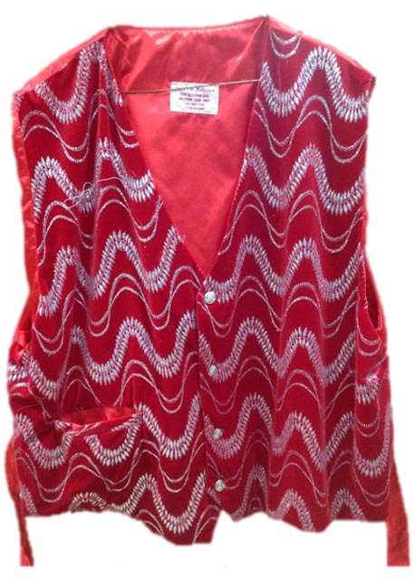 santa claus vest red velvet with silver waves