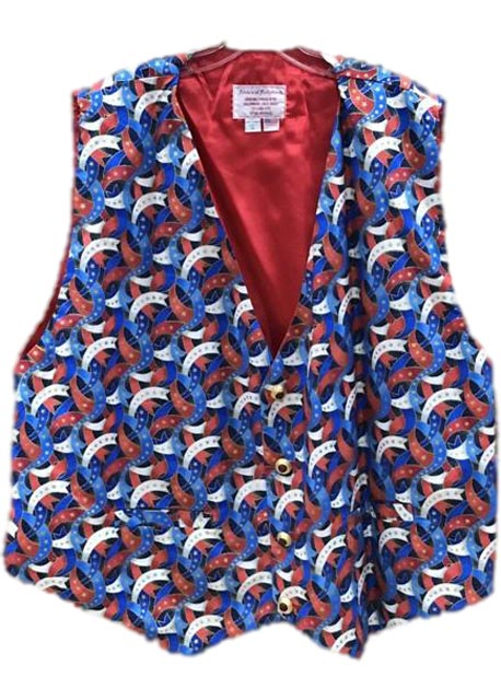 patriotic santa claus vest red white and blue ribbons