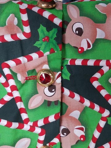 santa claus material reindeer rudolph and candy canes