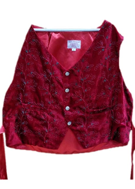 santa claus vest red velvet with holly vines
