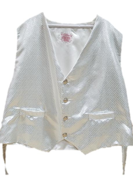 santa claus vest with silver snowflakes