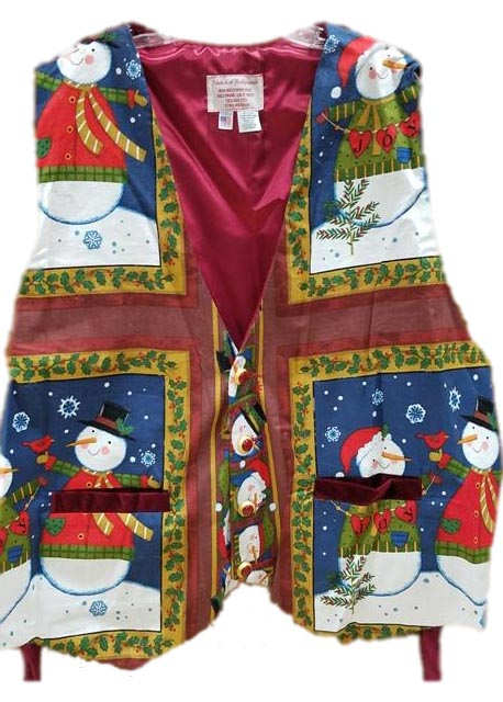 santa claus or christmas vest snowmen with cardinals