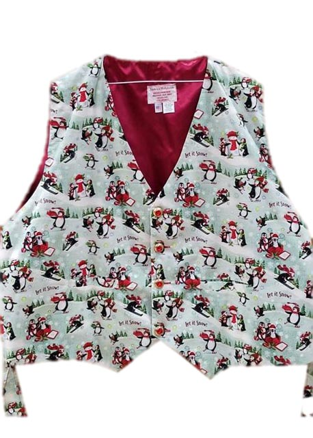 Playful Penguins santa claus vest