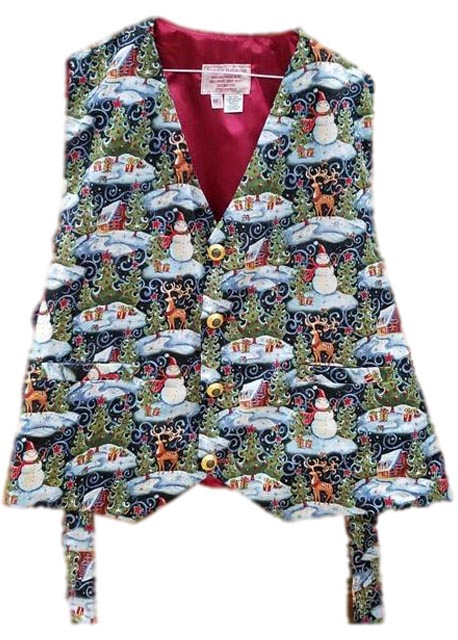 santa claus vest with reindeer and snowmen