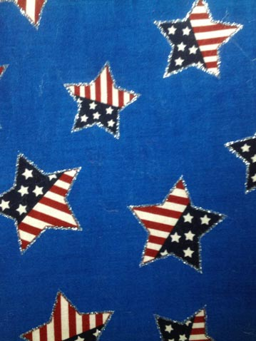 patriotic santa claus material with stars and stripes stars
