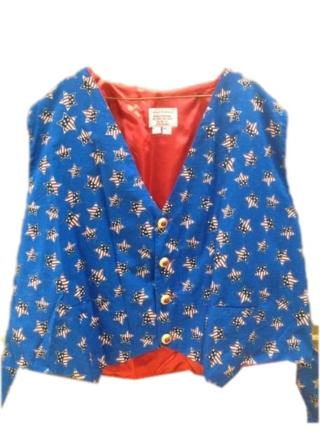 patriotic santa claus vest with stars and stripes stars