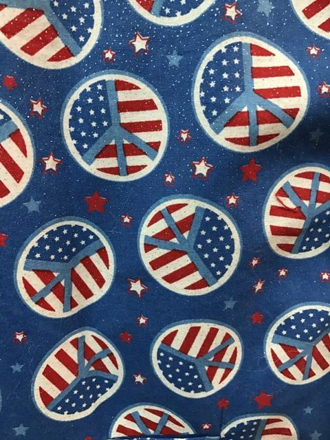 patriotic santa claus material with stars and stripes peace signs